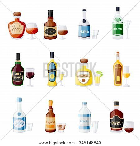 Alcohol Drink Bottles And Glasses. Vector Flat Cartoon Isolated Illustration. Bar Menu Design Elemen