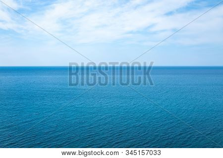 Beautiful Seascape In The Atlantic Ocean. Beautiful Seascape With Small Waves On The Water And Amazi