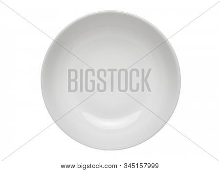 Empty round plate. Isolated dish on white background. Top view from above.