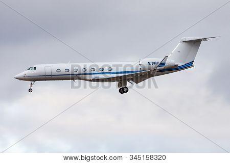 Frankfurt / Germany - December 4, 2012: Gulfstream G-v-sp G550 N168nj Private Business Jet Landing A