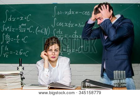 Man Unhappy Communicating. School Principal Talking About Punishment. Teacher Strict Serious Bearded