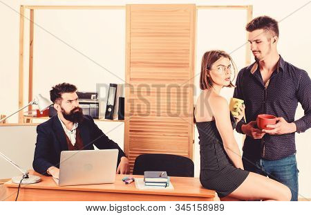 Woman Attractive Working Man Colleague. Office Romance Concept. Sexual Attraction Among Certain Cowo