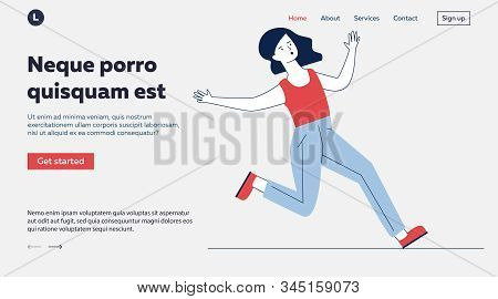 Clumsy Woman Falling On Slippery Floor. Cartoon Female Character Slipping Flat Vector Illustration.