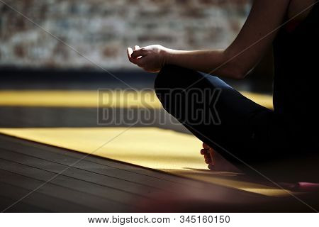 Yoga Class People Lifestyle With Women Group In Lotus Pose Meditating In Relax Silence Gym Studio In