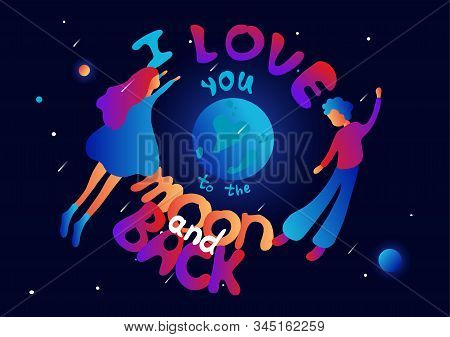 Romantic Postcard With People. Man And Woman In Love Flying In Space. Valentines Day, Love Story Con