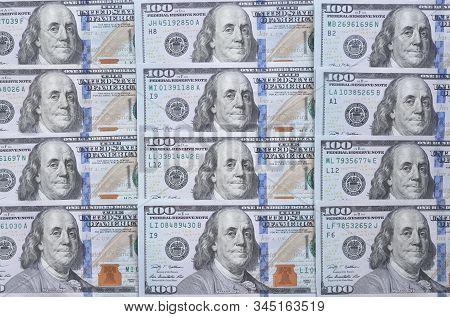Background Of One Hundred Dollar Bills. Benjamin Franklin On Usa Money Banknote.  American Dollars B