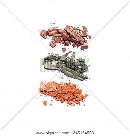 Eyeshadow Palette In Warm Tones And Makeup Brushes Of Different Sizes Isolated On White Background,