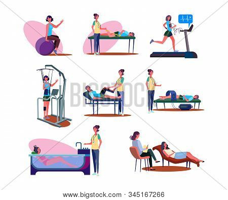 Set Of People During Medical Procedures. Flat Vector Illustrations Of People Doing Physical Exercise