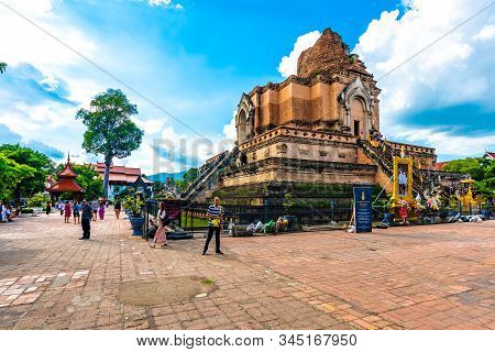 Chiang Mai, Thailand - 3.11.2019: Tourist Are Taking Photo Near Wat Chedi Luang Temple. Ancient Ruin