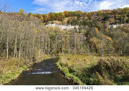 Whitewater River And Bluffs At Whitewater State Park In Driftless Region Of Southeastern Minnesota