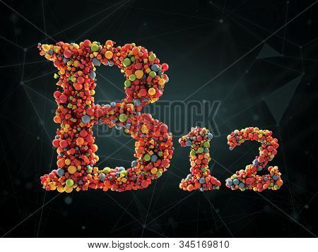 3d Rendering Of Vitamin B12 On Abstract Background. Concept Of Dietary Supplements