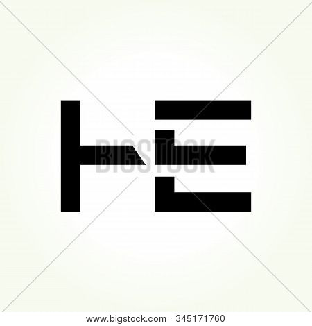 Letter He Logo Design Linked Vector Template With Black. Initial He Vector Illustration