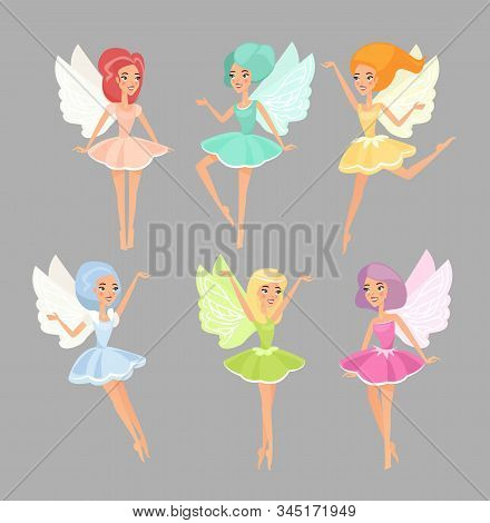 Fairies Flat Vector Illustrations Set. Magic Fairytale Creatures Isolated On Grey Background. Cute M