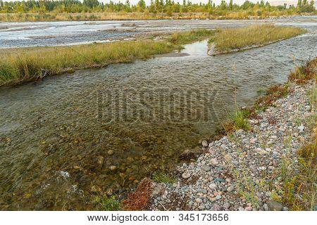 Chu River, Border Between Kazakhstan And Kyrgyzstan, River Border
