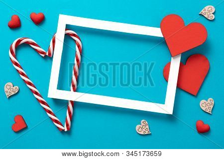 Lovely Frame Background, Valentines Day Background. Love Hearts, Candys, Flat Lay, Top View, Copy Sp