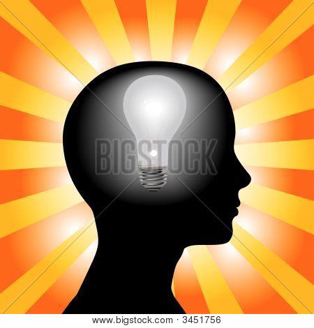 Idea Woman Mind Lightbulb In Silhouette Head On Rays Background.Eps