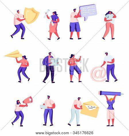 Set Of Flat Property, Health Medical, Pr, Social Media Networking Service Characters. Cartoon Holdin