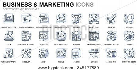 Simple Set Business And Marketing Line Icons For Website And Mobile Apps. Contains Such Icons As Vis