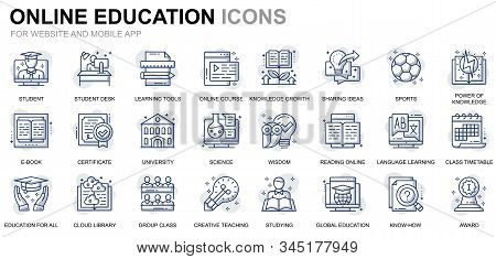 Simple Set Education And Knowledge Line Icons For Website And Mobile Apps. Contains Such Icons As On