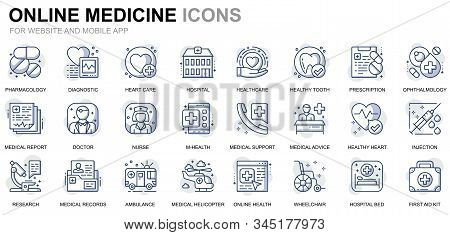 Simple Set Healthcare And Medical Line Icons For Website And Mobile Apps. Contains Such Icons As Amb