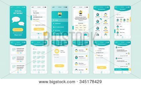 Set Of Ui, Ux, Gui Screens Social Network App Flat Design Template For Mobile Apps, Responsive Websi
