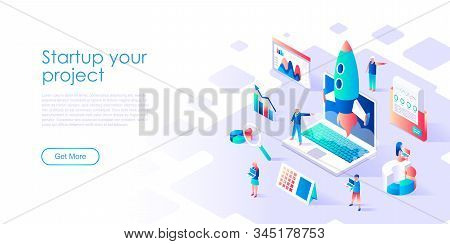 Modern Flat Design Isometric Concept Of Startup Your Project For Banner And Website. Isometric Landi
