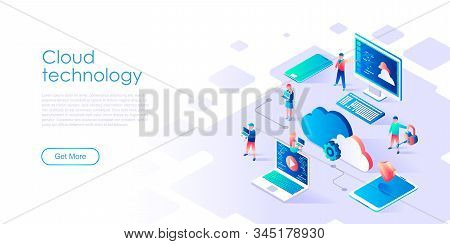 Modern Flat Design Isometric Concept Of Cloud Technology For Banner And Website. Isometric Landing P