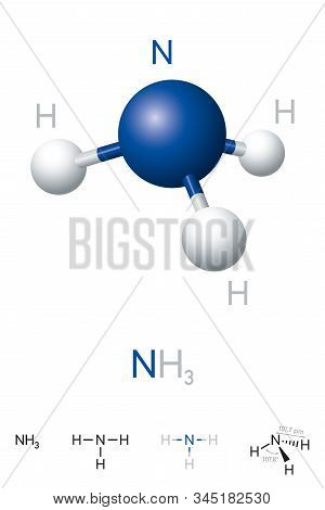 Ammonia, Nh3, Molecule Model And Chemical Formula. Chemical Compound Of Nitrogen And Hydrogen. A Col