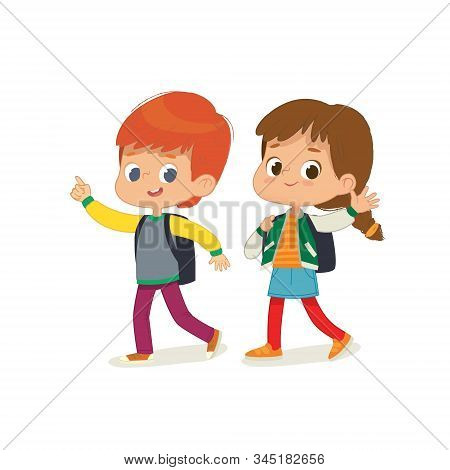 Vector Illustration Of Two Kids With The Backpacks Are Going To School. Preschool Friends Boy And Gi