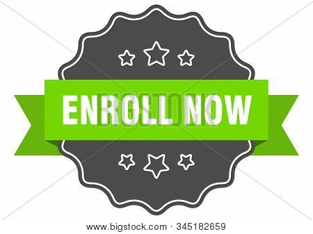 Enroll Now Isolated Seal. Enroll Now Green Label. Enroll Now