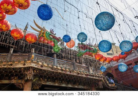 Lukang, Taiwan - October 18th, 2019: dragon lanterns Lukang Tianhou Temple, also known as Mazu Temple at Changhua, Taiwan