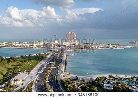 Abu Dhabi, Uae - January 12, 2019: Aerial View On Abu Dhabi In Winter, Island View