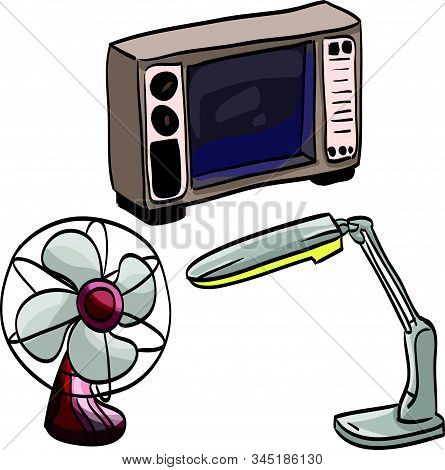 Set Of Tv Fan And Lamp At The White Background