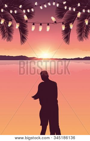 Couple In Love At Sea And Beautiful Sunset With Fairy Light And Palm Trees Vector Illustration Eps10