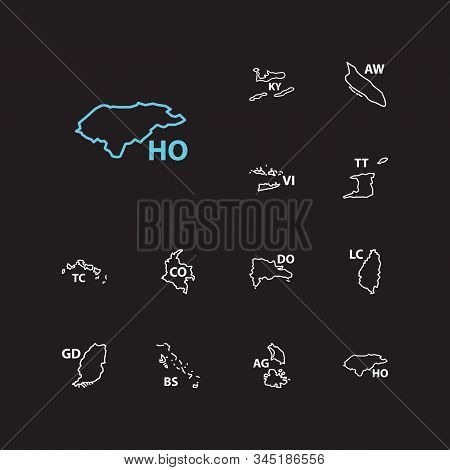 Cartography Icons Set. Colombia And Cartography Icons With Trinidad Tobago, Grenada And Aruba. Set O