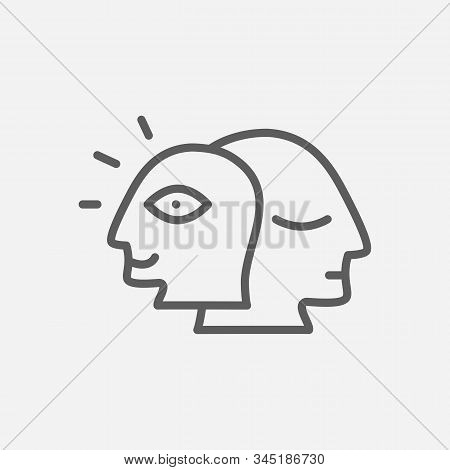 Alter Ego Icon Line Symbol. Isolated Vector Illustration Of Icon Sign Concept For Your Web Site Mobi