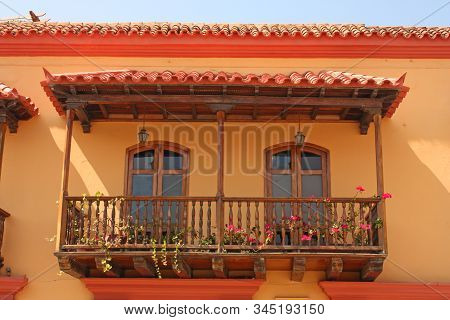 Detail Of A Colonial House. Typical Balcony. Spanish Colonial Home. Cartagena De Indias, Colombia.