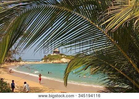 Caribbean, Colombia - Jan 7, 2012: Hut On A Caribbean Beach. Tayrona National Park. Colombia. Tayron