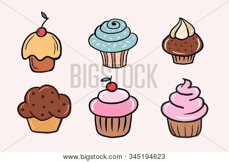 Set Of Cupcakes. Set Of Vector Color Illustrations Of Cupcakes In Cartoon Style. Drawing Cakes By Ha