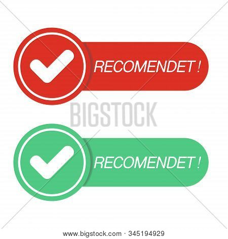 Recommended Icon. Red Label Recommended.sign Brand With Recommended.best Tag For Great Brend.banner