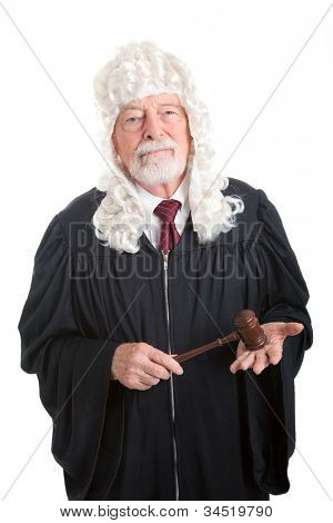 British style judge wearing a wig.  Isolated on white.