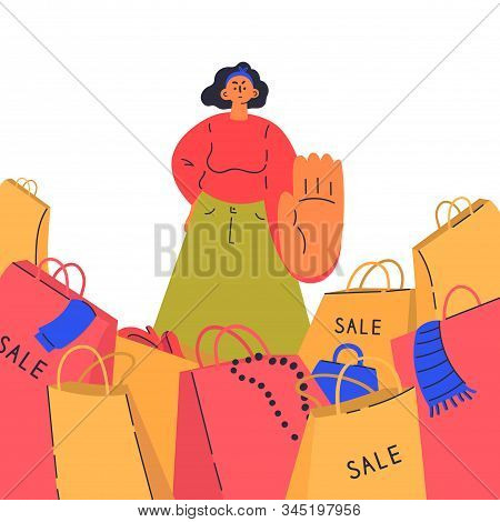 Reasonable Consumption Concept.woman Say No To Shopaholics.young Woman Against Sales, Minimalistic A