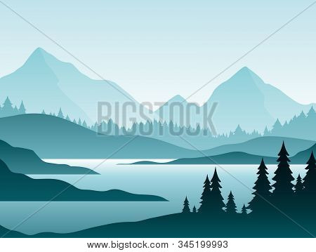 Forest Foggy Landscape Flat Vector Illustration. Nature Scenery With Fir Trees And Hill Peaks Silhou