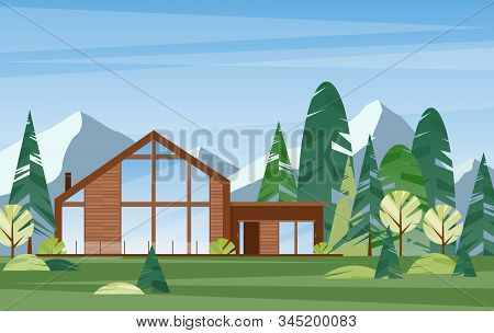 Modern Village House Flat Vector Illustration. Contemporary Wooden Building In Coniferous Forest. Co