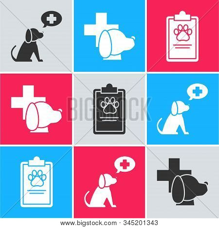 Set Veterinary Clinic Symbol, Veterinary Clinic Symbol And Clipboard With Medical Clinical Record Pe