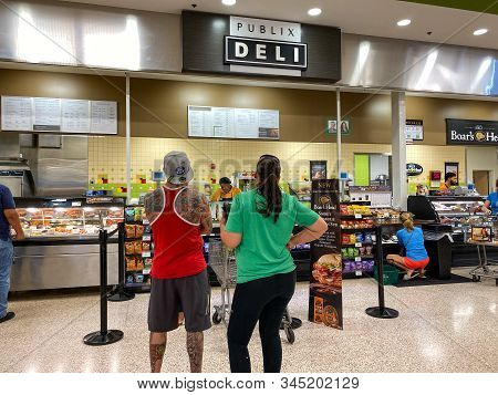 Orlando,fl/usa -1/15/20:  The Deli Counter Of A Publix Grocery Store With Colorful Sliced Meat And C