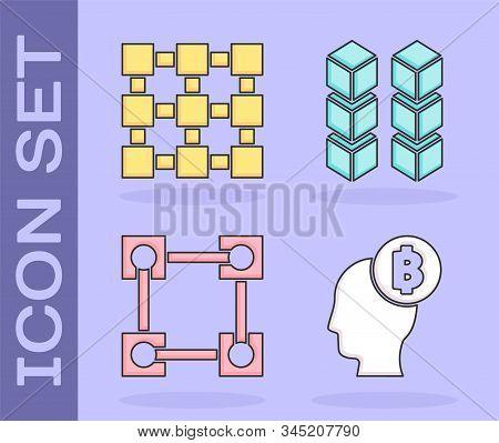 Set Bitcoin Think, Blockchain Technology, Blockchain Technology And Blockchain Technology Icon. Vect