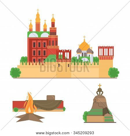 Sights Of Moscow Vector Illustration Set. Moscow Architecture Historical Famous Beautiful Red Square