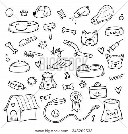 Hand Drawn Set Of Dog And Pet Accessories Elements: Bone, Food, Leash. For The Design Of Dog Themes:
