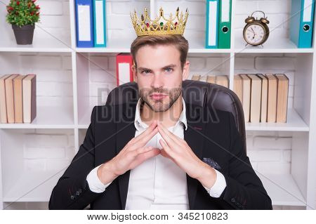 I Am Big Boss Here. Big Boss In Office. Big Boss Wear Crown On Head. Director Or Big Boss. Confident